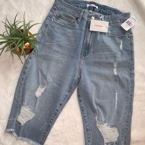 Good American Distressed Bermuda Shorts
